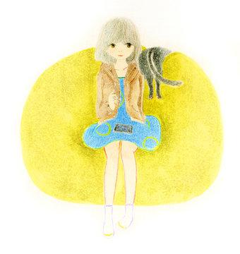女の子と黒猫の、柔らかい雰囲気の色鉛筆画