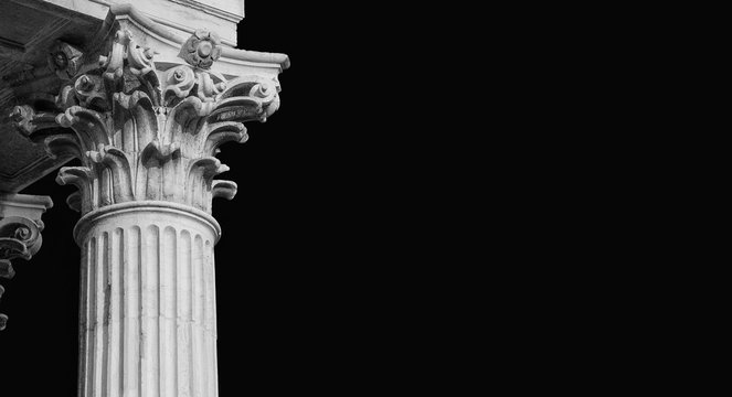 Classical architecture in Venice. Corinthian column and capital from St Nicholas of Tolentino Church, erected in the 18th century (Black and with copy space)