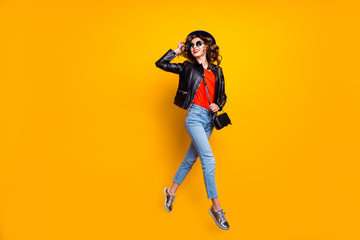Fototapete - Full length photo of cheerful girl have stroll fun with her friends on spring free time wear good modern look denim jeans isolated over yellow color background