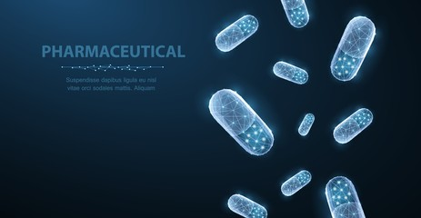 Pills. Abstract 3d polygonal wireframe two capsule pills on blue background with dots and stars. Wall mural