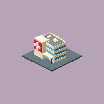 Isometric Hospital Isolated Images
