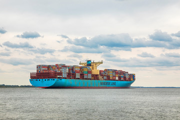 Container ship EVELYN MAERSK on Elbe river heading to Hamburg