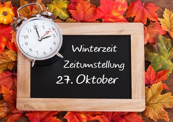 27. Oktober Zeitumstellung auf Winterzeit