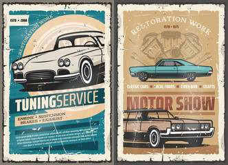 Retro cars tuning service, vintage motor show