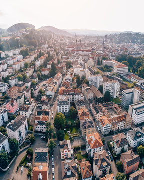 Aerial Drone Photo of the beautiful traditional city of Sankt Gallen in Switzerland on a sunny afternoon