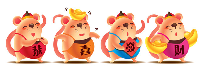 Chinese New Year 2020. Cartoon cute rat set with greeting words on colourful chinese dodou costume. Cute rat with golds and red sign paper.  The year of rat. Translation: Gong Xi Fa Cai - Vector
