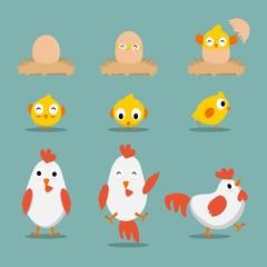 Simpel Cool cartoon chicken Vector clip art illustration