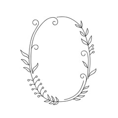 ellipse floral doodle frame. vector illustration