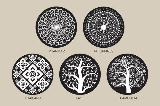 Southeast Asia Decoration Background Set