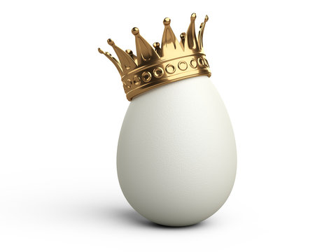 White egg with gold crown.