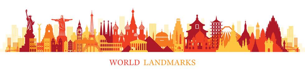 World Skyline Landmarks Silhouette in Colorful Color Fototapete