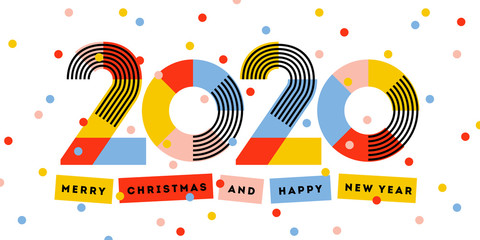 Merry Christmas and Happy New Year 2020 greeting card. Multicolored abstract numbers with ribbons and confetti isolated on white background. Elegant vector illustration in retro style Wall mural