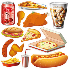 Set of different types of food on white background