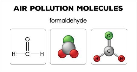 Diagram showing air pollution molecules of formaldehyde