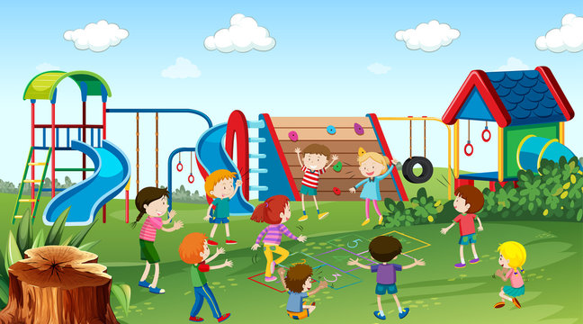 Active kids playing in outdoor scene