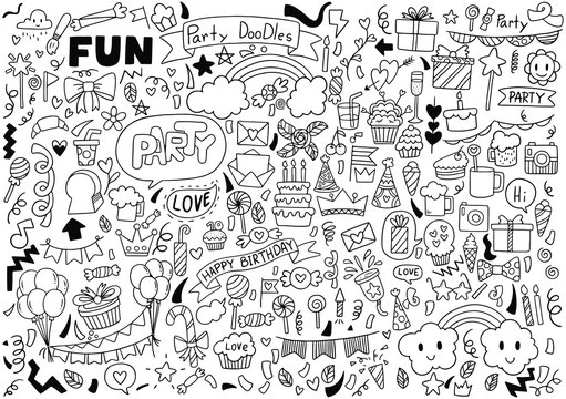 hand drawn party doodles wedding element background pattern Vector illustration