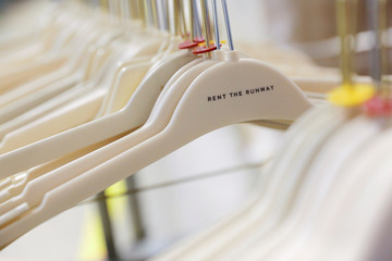 "Hangers are seen at Rent the Runway's ""Dream Fulfillment Center"" in Secaucus, New Jersey"