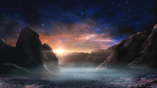 Sci-fi magical landscape with rock valey, star and sun. Digital painting illustration. Element furnished by NASA