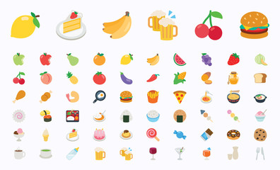 Food and Drinks, Fruits and Vegetables Vector Illustration Icons Set. Fast Foods, Cakes, Restaurant, Cafe Flat Vector Icons, Emoticons, Emojis Collection - Vector