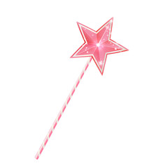 Pink fairy magic wand, 3d princess stick with star, isolated on white background