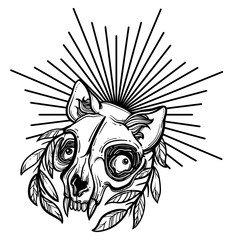 Cat skull. A wreath of leaves. Vector illustration in tattoo style.Gothic brutal skull. For print t-shirts or book coloring.