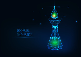 Futuristic biofuel industry concept with glowing low poly green petroleum drop, funnel, flask.