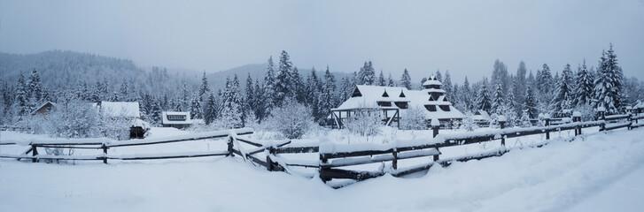 Winter mountain village. Carpathians. Vorokhta, Ivano-Frankivsk region, Ukraine