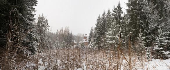 Winter mountain village in the Carpathians. Vorokhta, Ivano-Frankivsk region, Ukraine