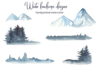 Watercolor set winter landscape with mountains, fir trees, skyline, grass