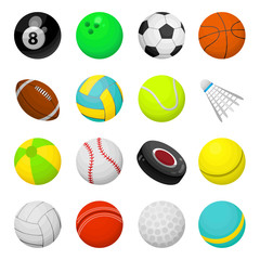 Balls for playing games vector illustrations set