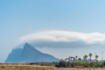 View of the Rock of Gibraltar from La Linea beach