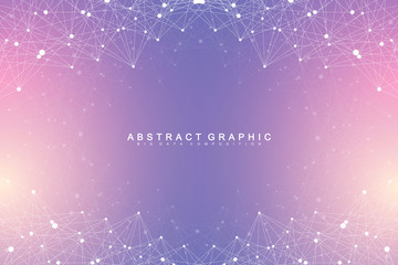 Big data visualization. Geometric abstract background visual information complexity. Futuristic infographics design. Technology background with connected line and dots, wave flow. Vector illustration Wall mural