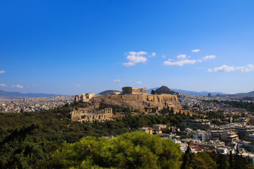 View to the Acropolis of Athens, the Theatre of Dionysus, Mount Lycabettus and the city of Athens, Greece