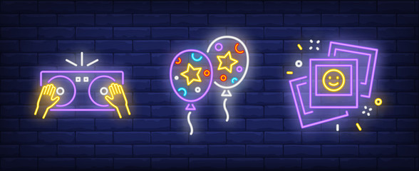 Disco party neon sign set