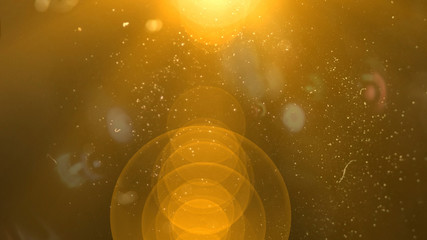 Isolated orange, yellow light rays animation. Shine or sun effect on black screen with bokeh. Dust, dirty lens effect, glitter, shiny, bright, flare footage with alpha channel.  Wall mural