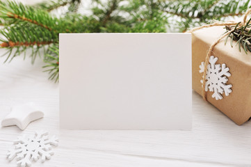 Christmas background for greeting card sheet of paper with place for text. xmas wooden background. Flat lay, top view photo mockup
