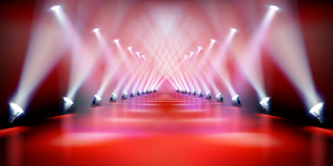 Stage podium illuminated by spotlights during the show. Red carpet. Fashion runway. Vector illustration.