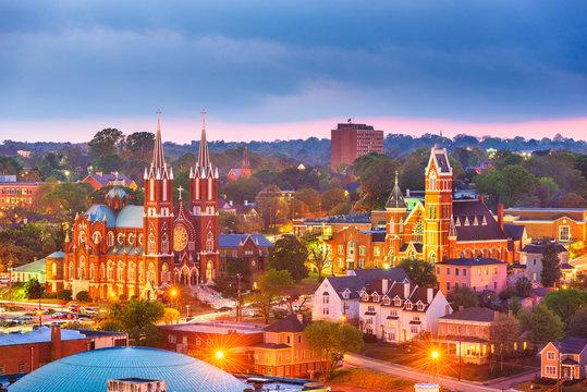 Macon, Georgia, USA historic downtown skyline at dusk.