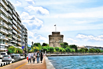 Drawing of the city promenade overlooking the White Tower. Thessaloniki Greece.