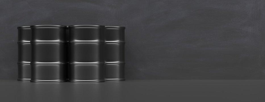 Fuel drums against black background, banner, copy space. 3d illustration