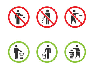 Obraz Do not litter vector signs set, keep clean icons - fototapety do salonu