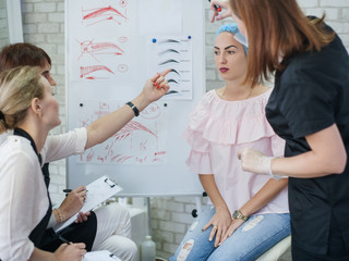 Permanent makeup. Professional courses. Female interns studying eyebrow design and new techniques.