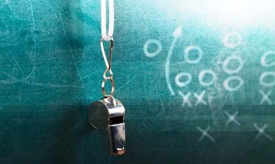 Coach sport whistle strategy backgrounds training blackboard