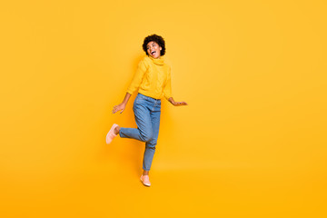 Full length body size photo of cheerful positive sweet cute nice girlfriend resting relaxing dancing running for sales wearing sweater jeans denim isolated over vibrant color background
