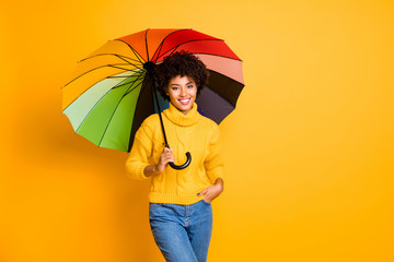 Rainy day is not a problem concept. Photo of positive optimistic cheerful confident feeling in...