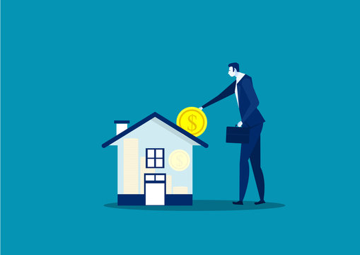 Save money for house property by businessman vector illustrator