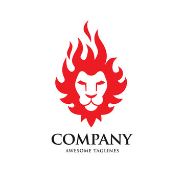 creative Lion head fire logo vector illustration, Lion Head Flaming Fire Vector Illustration Logo.