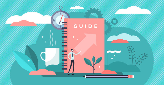 Guide vector illustration. Tiny technical FAQ information persons concept.