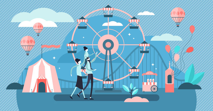 Carousel vector illustration. Tiny amusement park family persons concept.