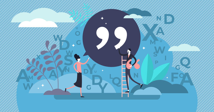 Quote vector illustration. Tiny punctuation quotation mark persons concept.